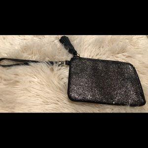 Fossil leather phone wallet/wristlet-black shimmer